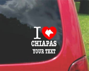 2 Pieces I Love Chiapas Mexico Stickers Decals 20 Colors To Choose From.  Free U.S.A Free Shipping