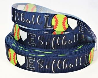 "7/8"" inch LOVE Softball on Navy Blue Balls Sports Soft Ball Printed Grosgrain Ribbon for Hair Bow"