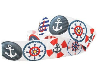 1 inch Nautical Red Wheel Navy Anchor Anchors on White  - Printed Grosgrain Ribbon for Hair Bow