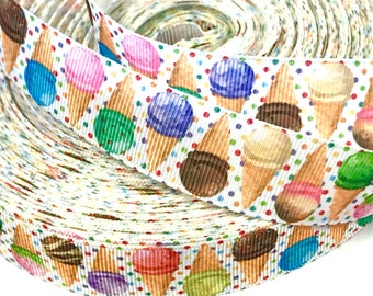 """7/8 inch Ice Cream Cones Sweets Polka Dot on White Colorful Printed Grosgrain Ribbon Hair Bow - 7/8"""""""