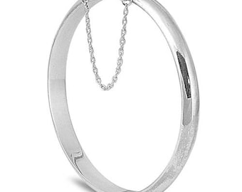 925 Sterling Silver Hinged Bangle Bracelet w/Safety Chain - 7 X 60 X 60 mm