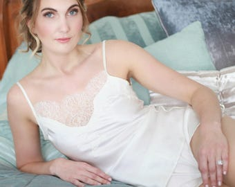 Luxury beautiful lingerie handmade in England. Chantilly lace and silk soft bridal camisole
