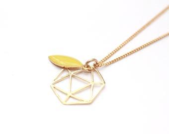 Gold plated leaf mustard enamel Life necklace