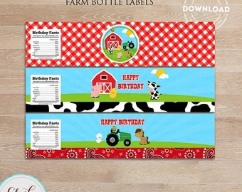 50% OFF SALE Farm Bottle Water Labels, Barn Party, barnyard animals, Old Mc Donald, Country Printable Birthday party decorations, Party supp