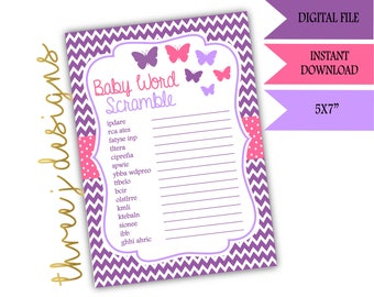 Butterfly Baby Shower Word Scramble Game - INSTANT DOWNLOAD - Purple and Pink - Digital File - J002