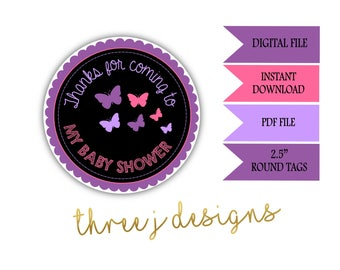 Butterfly Baby Shower Thank You Favor Tags - INSTANT DOWNLOAD - Purple and Pink - Digital File - J002