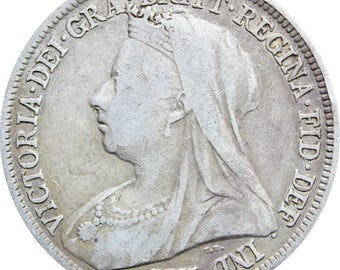 1895 Shilling Victoria Queen Great Britain Silver British Coin
