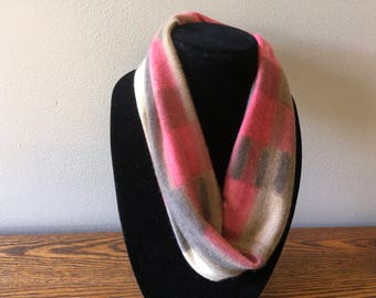 Upcycled cashmere infinity scarf. #48 Felted cashmere cowl. Rose and khaki cashmere scarf.