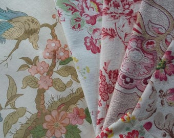 Vintage French~English Fabric Inspiration Bundle~1940's Roses ~Art Nouveau ~suitable for patchwork, craft or other small projects.