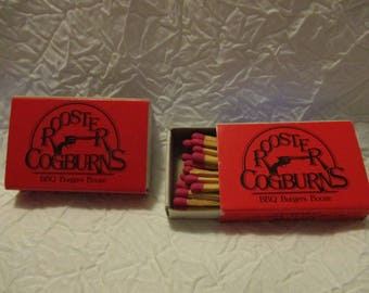 Collectible Tobacciana Match Boxes- 2 Rooster Cogburns BBQ Burgers Booze