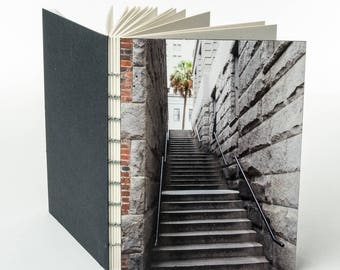 SAVANNAH STAIRS | small handmade coptic bound blank book diary journal notebook original cover photo | aBoBoBook
