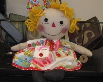 Sewing Room Doll - Raggedy Doll - Raggedy Ann Doll - Handmade Doll - Shelf Sitter - Old Buttons - FAAP~HAFAIR~TEAMHAHA