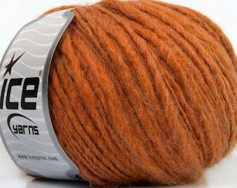 Fiammato Orange Wool Blend Ice Yarn, Wool Blend Yarn, Thin to Thick Yarn, Worsted Weight Wool Blend Yarn, Fiber Art, Unique Yarn, 39180