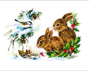 fabric panel - two baby rabbits and tit. For sewing, patchwork, quilting.