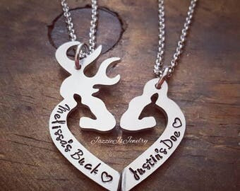 Personalized Her Buck His Doe Necklace Set, Personalized Gift Set for Couples, His and Hers Deer Necklaces, Handstamped Buck & Doe Necklace