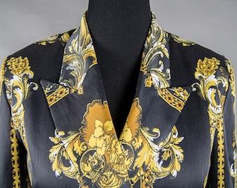 Vintage 80's KAMOSHO Jacket, Vintage 1980's Versace Style Baroque Print Jacket, Vintage 80's Versace Style Baroque Print KAMOSHO Jacket