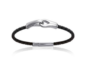 Personalized mens twisted leather bracelet and steel