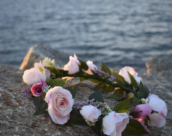 Bridal Flower Crown, Bridal Headpiece, Bridal Floral Wreath, Bride Headpiece, Bridal Shower Flower Crown, Bachelorette Party Flower Crown