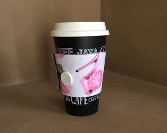 Fabric coffee sleeve / coffee cozy / handmade coffee sleeve / pink coffee sleeve / homemade coffee sleeve / gifts for her / gifts under 10