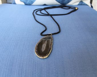Black gemstone agate pendant single/double/triple wrap suede cord