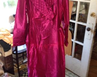 50's maroon satin three piece pajama set, NOS