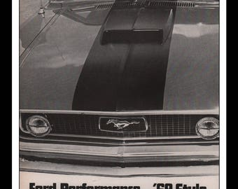"""Vintage Print Ad 1960s : Ford Mustang Automobile Car Wall Art Decor 8.5"""" x 11"""" each Advertisement"""