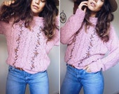 RESERVED For Juliette  // Bohemian ROSE COTTON Knit  // Slouchy Embroidered Flower Sweater // Cosy Gypsy Textured Jumper // Size S-M