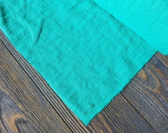 Washed turquoise linen fabric by the meter, natural soft linen green electric blue turquoise stonewashed linen fabric by the yard 7oz 200GSM