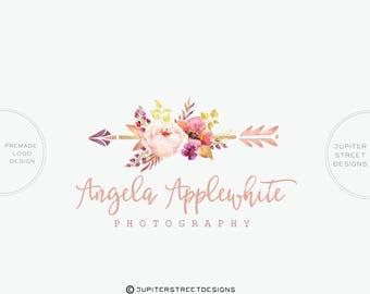 Flower Logo Design- Arrow Logo-Photography Logo-Small Business Logo