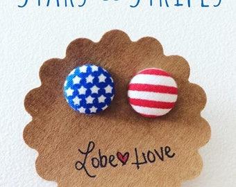 American Flag Fabric Earrings