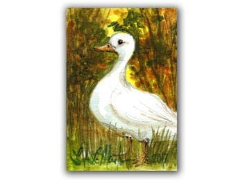 Little Happy Drake Duck Autumn LLMartin Original ACEO  Watercolor Free Shipping USA Baby Nursery New Mom Toddler Child