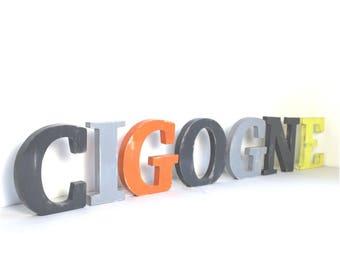 Mot géant cigogne  à poser  patiné - lettre personnalisée - décoration vintage - mylittledecor