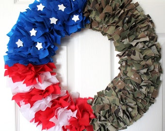Multicam Wreath, Army Wreath, Camouflage Wreath, OCP, Mulitcam, Military Family, Homecoming, Deployment, 4th of July Wreath,