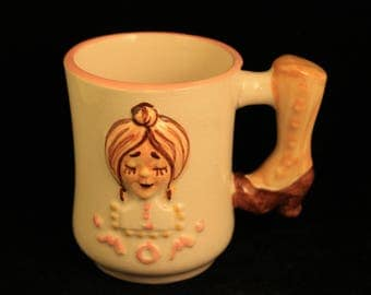 Vintage Ceramic Mom Mug/Cup Boot Shaped Handle