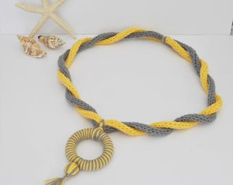 Summer cotton necklace, hand knitted jewellery, i-cord necklace, rope pendant necklace, statement piece, yellow & grey, Kwirky Knits UK
