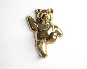 Vintage Brass Teddy Bear Wall Hook, Vintage Brass Bear Coat Hook Nursery Decor