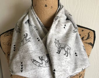 Fox Scarf, Fox Lover's Gift, Fox Lover's Accessory, Fox Christmas Gift, Fox Holiday Gift, Warm Winter Scarf, Fox Gift Under 30, Fox Gift