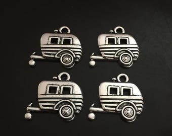 4PC Camper Charms-Camping Charm-Antique Silver Tone Charm