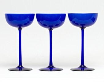 "Set of 3 Carlo Moretti Encased Cobalt Blue Glasses 6 15/16"""