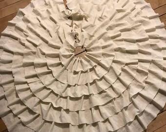 Christmas tree skirt, white tree skirt, tree skirt, antique white tree skirt, christmas decor