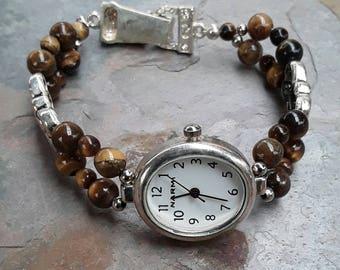 Beaded Tigers Eye  Watch Bracelet, Brown Jewelry, Tigers Eye Jewelry, Tigers Eye Bracelet, Gemstone Bracelet ,Gemstone Jewelry  Ladies Watch