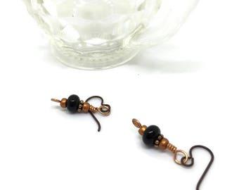 Black Lampwork Bead Earrings