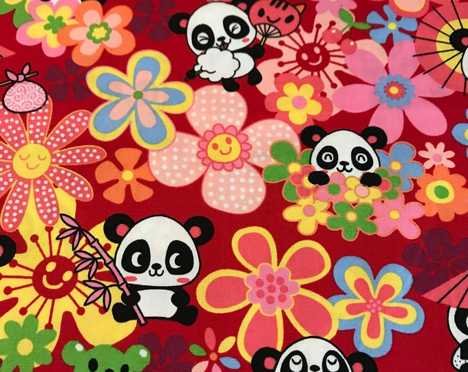 Japanese Anime - Panda Red - Cotton Woven