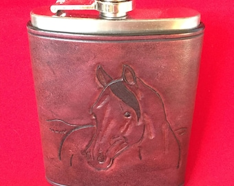 Carved Horse Head 8 oz. Stainless Steel Flask