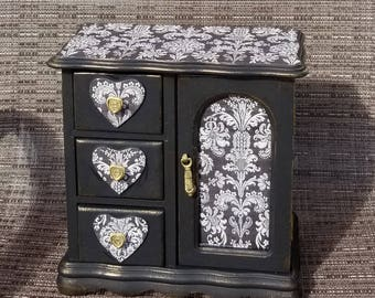 Damask Jewelry Box Vintage, Cottage Chic, Jewelry Armoire, French country, Boho,Upcycled, chest , Black Damask,Jewelry Box