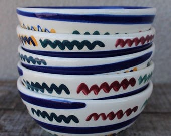 Vintage Hand Painted Gail Pittman Zig Zag Pattern Coupe Cereal Bowls - Set of 5
