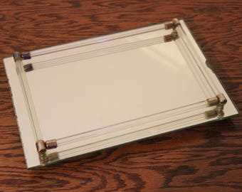 Vanity Mirror Dresser Perfume Rectangle Tray Vintage Art Deco Glass Rods 11x8