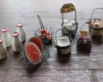 Vintage Lot of Miniature Food and Drink Dollhouse Collectable Miniatures