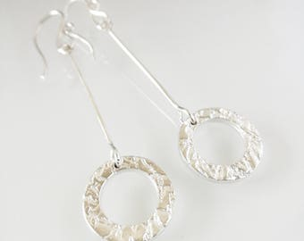Silver earrings, Textured silver, Texturized silver, Texturized earrings