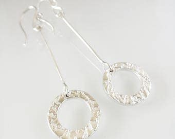 Sterling silver earring, long anniversary earring, textured silver, disc or circle earrings